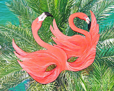 Mixed Media - Flamingo Mask 1 by Lizi Beard-Ward