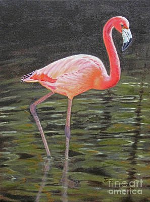 Art Print featuring the painting Flamingo On Parade by Jimmie Bartlett