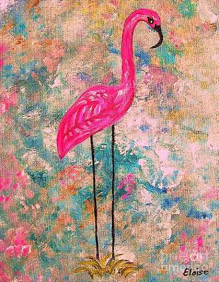 Flamingo On Pink And Blue Art Print