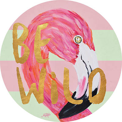 Tropical Painting - Flamingo On Stripes Round by Julie Derice
