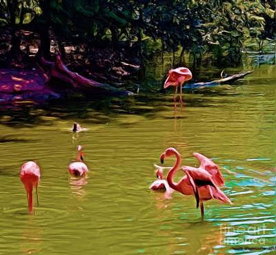 Flamingo Party Art Print by Luther Fine Art