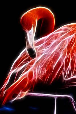 Flamingo Portrait Fractal Art Print