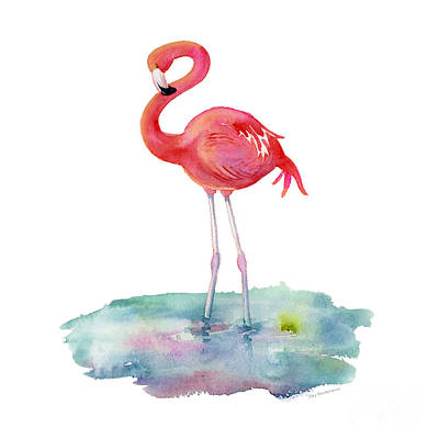 Birds Painting Rights Managed Images - Flamingo Pose Royalty-Free Image by Amy Kirkpatrick