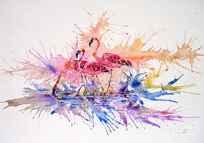 Painting - Flamingo Splash by Zaira Dzhaubaeva