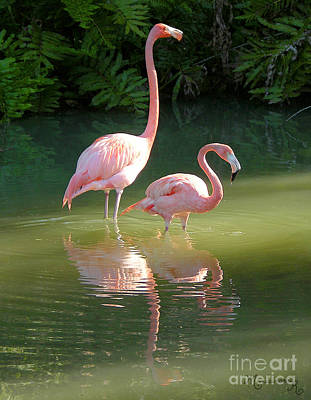 Flamingo Stroll Art Print by Mariarosa Rockefeller