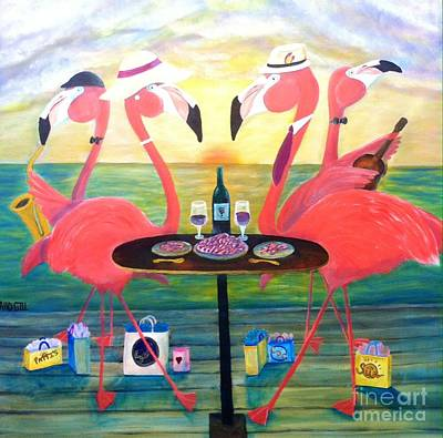 Fedora Painting - Flamingo Sunset by Chad Gill