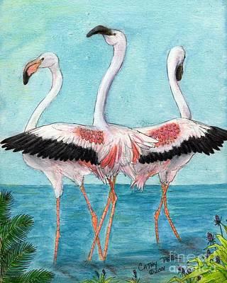 Greater Flamingos Painting - Flamingo Trio Dance Tropical Bird Art Peek by Cathy Peek
