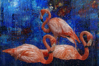Feed Digital Art - Flamingo Trio by Jack Zulli