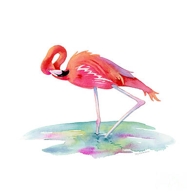 Birds Painting Rights Managed Images - Flamingo View Royalty-Free Image by Amy Kirkpatrick