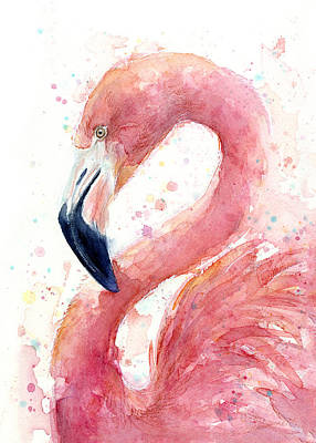 Flamingo Watercolor Painting Print by Olga Shvartsur