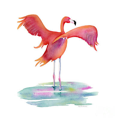 Flamingoes Painting - Flamingo Wings by Amy Kirkpatrick