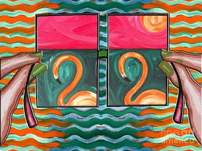 Flamingo Mixed Media - Flamingoes 2 by Patrick J Murphy
