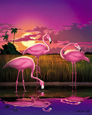 Flamingoes Flamingos Tropical Sunset Landscape Florida Everglades Large Hot Pink Purple Print Art Print by Walt Curlee