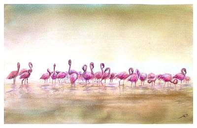 Flamingoes Land Art Print
