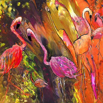 Painting - Flamingoes Wild by Miki De Goodaboom
