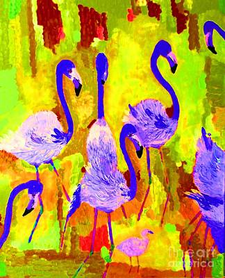 Painting - Flamingos 1 Digital by Vicky Tarcau