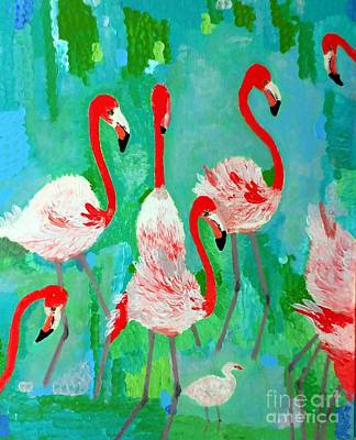 Flamingos 1 Art Print by Vicky Tarcau