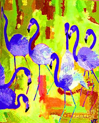 Painting - Flamingos 2 Digital by Vicky Tarcau