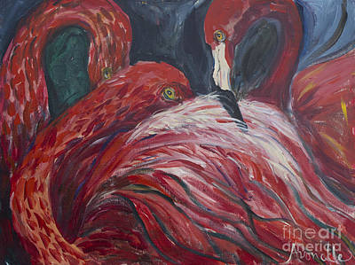 Art Print featuring the painting Flamingos by Avonelle Kelsey