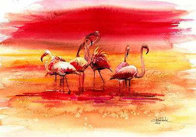 Surrealistic Painting - Flamingos by Isabel Salvador