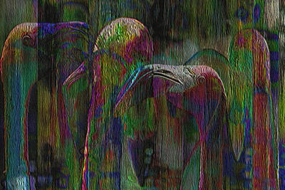 Ibis Painting - Flamingos by Jack Zulli