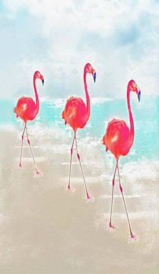 Digital Art - Flamingos On The Beach by Jane Schnetlage