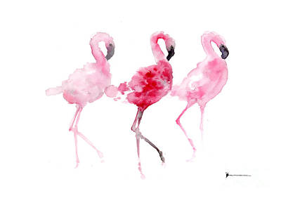 Flamingos Painting Watercolor Art Print Art Print by Joanna Szmerdt
