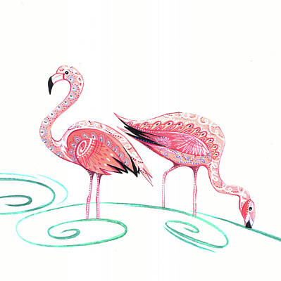 Flamingos Painting - Flamingos by P.s. Art Studios