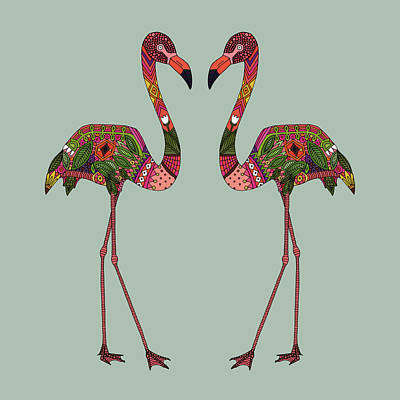 Flamingos Seafoam Art Print