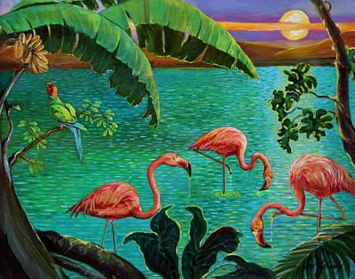 Flamingos Wading Original by Jan Mecklenburg