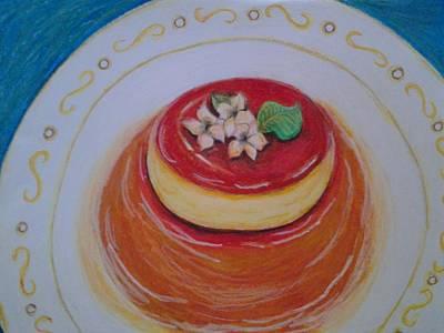 Snack Drawing - Flan by Denisse Del Mar Guevara