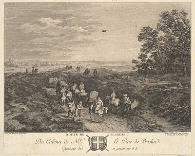 Anton Drawing - Flanders Road Route De Flandre by Balthasar Anton Dunker