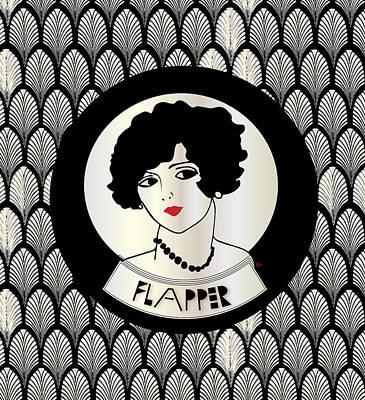 Roaring Twenties Mixed Media - 1920s Flapper  Girl by Cecely Bloom