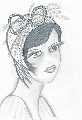 Drawing - Flapper In A Bow by Sonya Chalmers