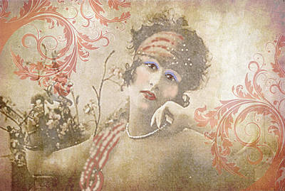 Maureen Digital Art - Flapper In Flourishes by Maureen Tillman
