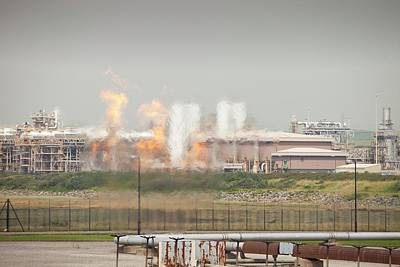 Flaring Off Gas At A Gas Processing Plant Art Print by Ashley Cooper