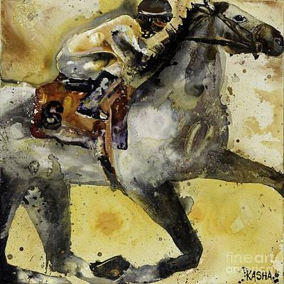 Kentucky Derby Painting - Flash Of Grey  by Kasha Ritter