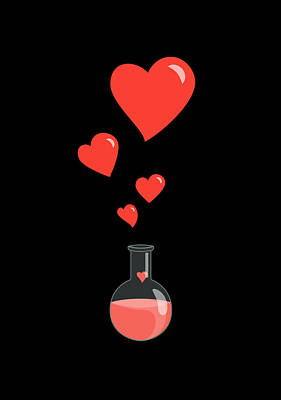 Chemistry Digital Art - Flask Of Hearts by Boriana Giormova