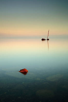 Photograph - Flat Calm Shipwreck Sunrise by Grant Glendinning