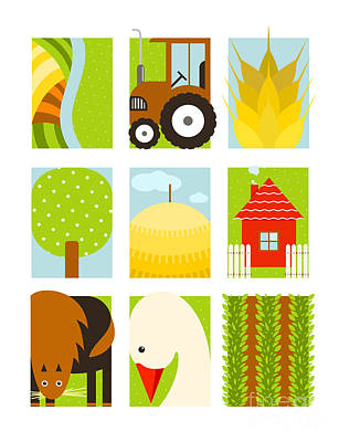 Geese Wall Art - Digital Art - Flat Childish Rectangular Agriculture by Popmarleo