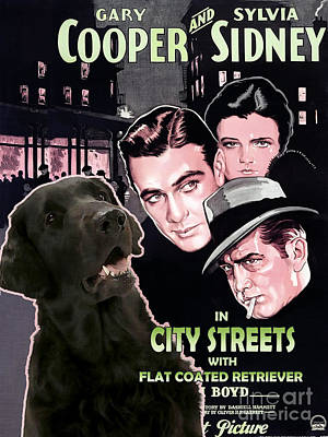 Painting - Flat-coated Retriever Art Canvas Print - City Street Movie Poster by Sandra Sij