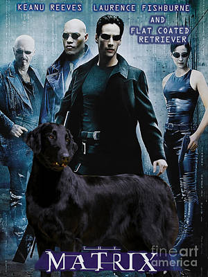 Painting - Flat-coated Retriever Art Canvas Print - Matrix Movie Poster by Sandra Sij