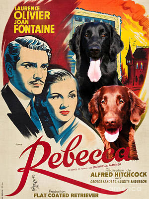 Painting - Flat-coated Retriever Art Canvas Print - Rebecca Movie Poster by Sandra Sij