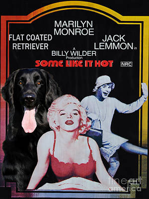 Painting - Flat-coated Retriever Art Canvas Print - Some Like It Hot Movie Poster by Sandra Sij