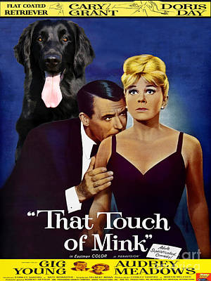 Painting - Flat-coated Retriever Art Canvas Print - That Touch Of Mink Movie Poster by Sandra Sij