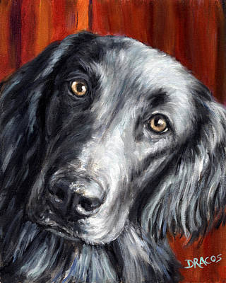 Flat-coated Retriever Portrait On Red Art Print
