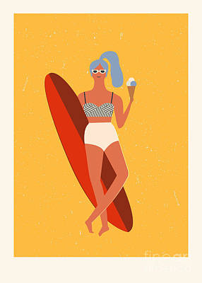 Waves Digital Art - Flat Illustration With Surfer Girl With by Tasiania
