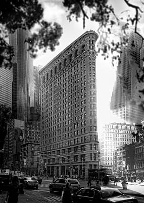 Old Time Feel Photograph - Flat Iron Building New York City Juxtapocity Series by Marshall Bishop