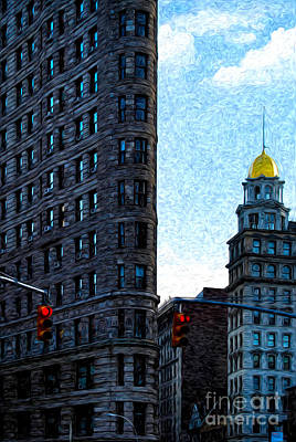 Traffic Light Digital Art - Flat Iron Nyc by Sabine Jacobs