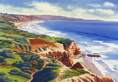 Rock Wall Art - Painting - Flat Rock And Bluffs At Torrey Pines by Mary Helmreich